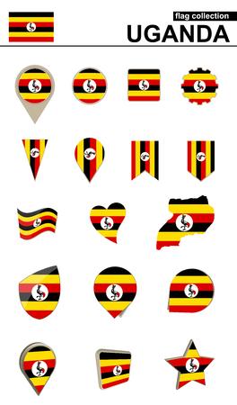 geographical: Uganda Flag Collection. Big set for design. Vector Illustration.