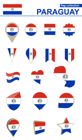 geographical: Paraguay Flag Collection. Big set for design. Vector Illustration. Illustration
