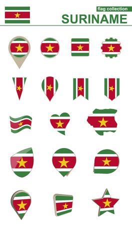 nationalism: Suriname Flag Collection. Big set for design. Vector Illustration.