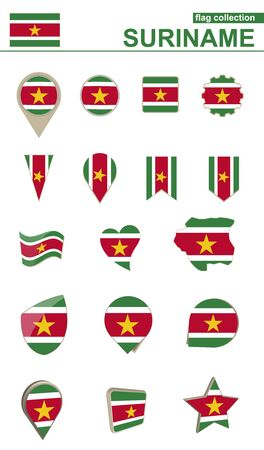 geographical: Suriname Flag Collection. Big set for design. Vector Illustration.