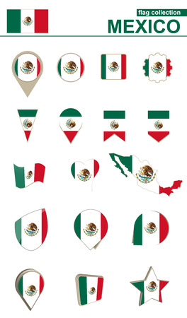 Mexico Flag Collection. Big set for design. Vector Illustration.