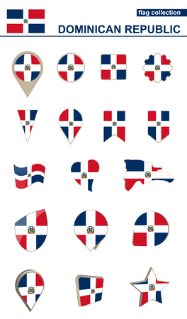 Dominican Republic Flag Collection. Big set for design. Vector Illustration.