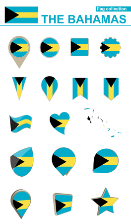 national geographic: The Bahamas Flag Collection. Big set for design. Vector Illustration.