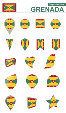 flag: Grenada Flag Collection. Big set for design. Vector Illustration. Illustration