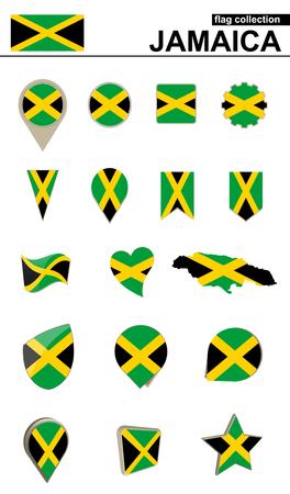 kingston: Jamaica Flag Collection. Big set for design. Vector Illustration.