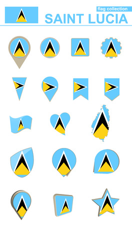 geographical: Saint Lucia Flag Collection. Big set for design. Vector Illustration.
