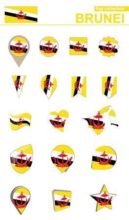 Brunei Flag Collection. Big set for design. Vector Illustration.
