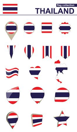 タイの国旗のコレクションです。デザインのための大きなセット。ベクトルの図。