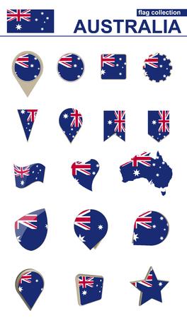 Australia Flag Collection. Big set for design. Vector Illustration.