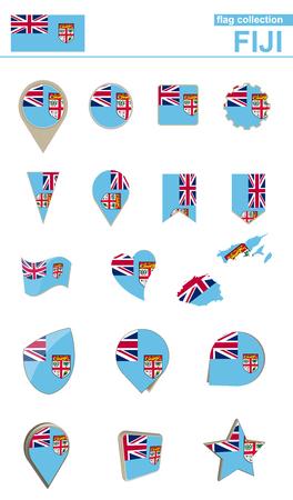 geographical: Fiji Flag Collection. Big set for design. Vector Illustration.