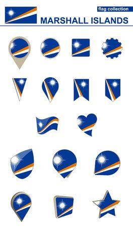 マーシャル諸島の国旗コレクション。デザインのための大きなセット。ベクトルの図。  イラスト・ベクター素材