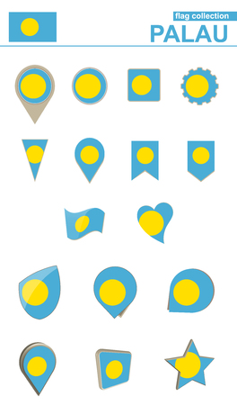 geographical: Palau Flag Collection. Big set for design. Vector Illustration.