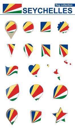 Seychellen Vlag Collectie. Grote set voor ontwerp. Vectorillustratie.