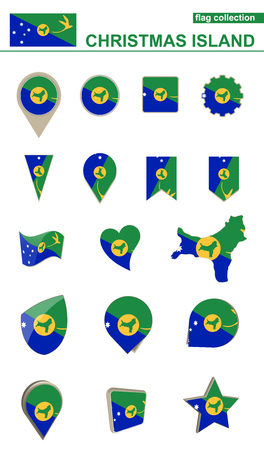 oceania: Christmas Island Flag Collection. Big set for design. Vector Illustration. Illustration