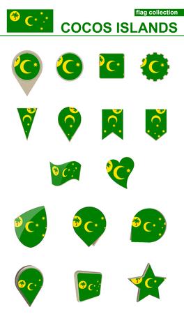Cocos Islands Flag Collection. Big set for design. Vector Illustration.