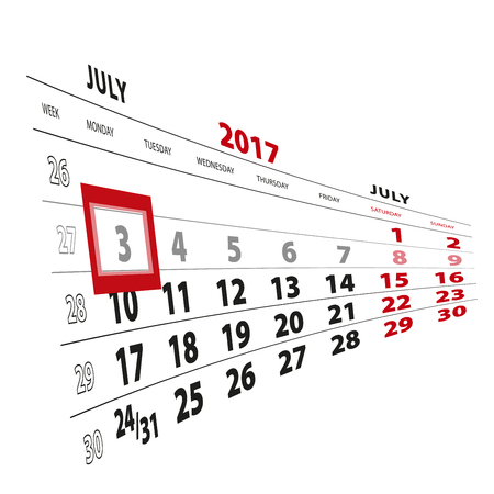3 July highlighted on calendar 2017. Week starts from Monday. Vector Illustration.