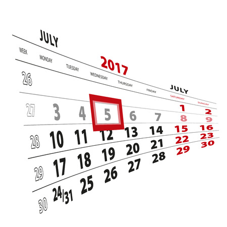 5 July highlighted on calendar 2017. Week starts from Monday. Vector Illustration.