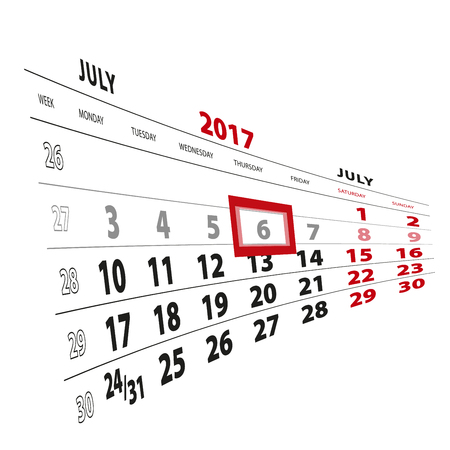 6 July highlighted on calendar 2017. Week starts from Monday. Vector Illustration. Illustration