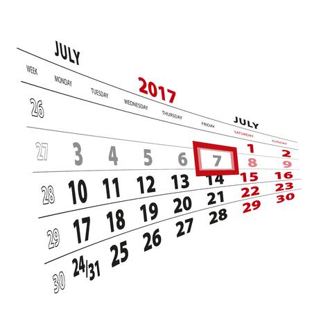 7 July highlighted on calendar 2017. Week starts from Monday. Vector Illustration. Illustration