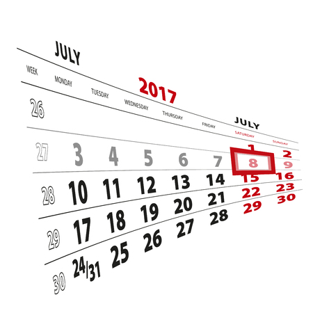 8 July highlighted on calendar 2017. Week starts from Monday. Vector Illustration. Stock Vector - 81383274