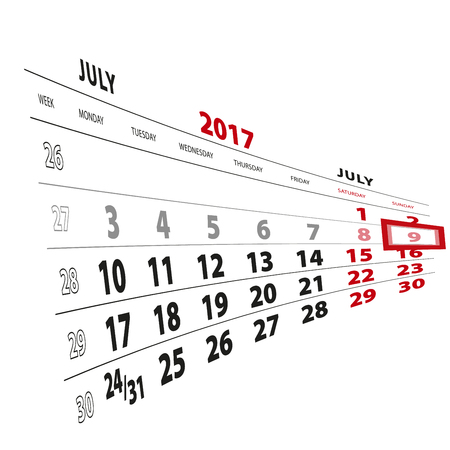 9 July highlighted on calendar 2017. Week starts from Monday. Vector Illustration.