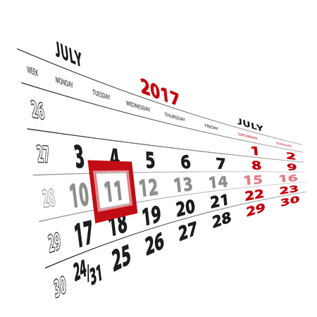 11 July highlighted on calendar 2017. Week starts from Monday. Vector Illustration.