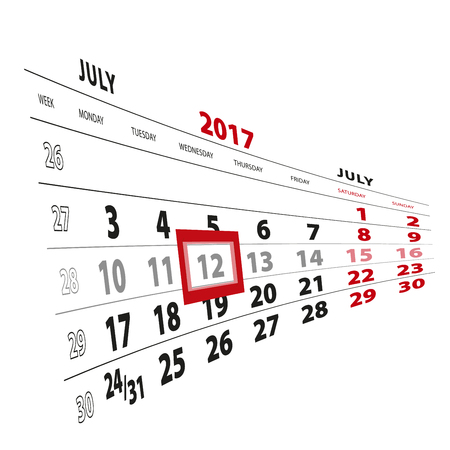 12 July highlighted on calendar 2017. Week starts from Monday. Vector Illustration. Illustration