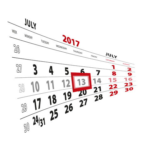 13 July highlighted on calendar 2017. Week starts from Monday. Vector Illustration.