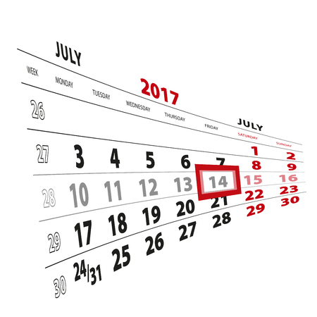14 July highlighted on calendar 2017. Week starts from Monday. Vector Illustration.