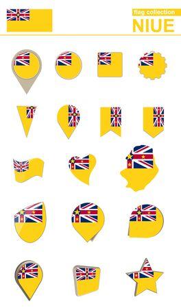 niue: Niue Flag Collection. Big set for design. Vector Illustration.