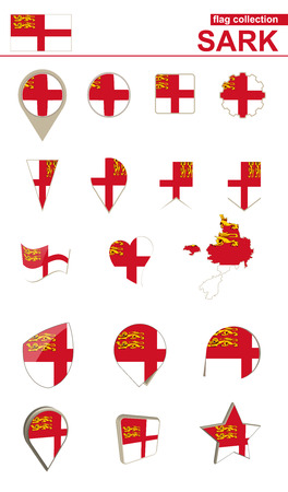 Sark Flag Collection. Big set for design. Vector Illustration. Illusztráció