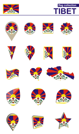 Tibet Flag Collection. Big set for design. Vector Illustration.