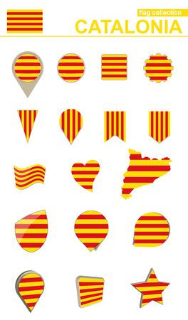Colección De La Bandera De Cataluña. Conjunto grande para el diseño. Ilustración vectorial.