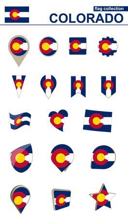 Colorado Flag Collection. Big set for design. Vector Illustration.