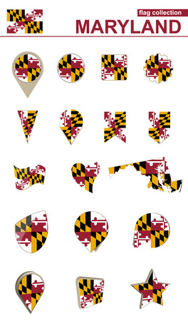 Maryland Flag Collection. Big set for design. Vector Illustration.