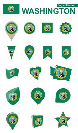 Washington Flag Collection. Big set for design. Vector Illustration. Illustration