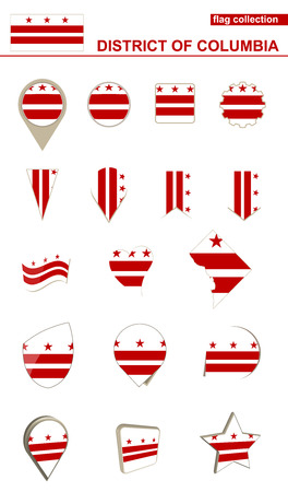 District of Columbia Flag Collection. Big set for design. Vector Illustration.
