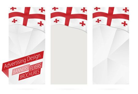 Design of banners, flyers, brochures with flag of Georgia. Leaflet Template for website or printing. Vector Illustration.