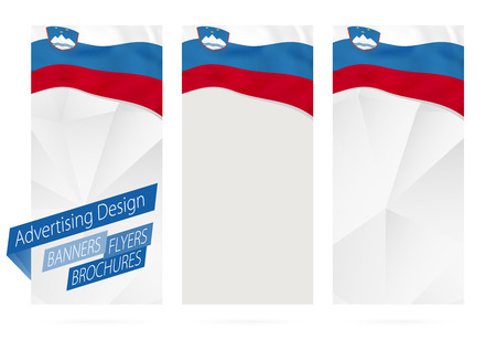 Design of banners, flyers, brochures with flag of Slovenia. Leaflet Template for website or printing. Vector Illustration. Çizim