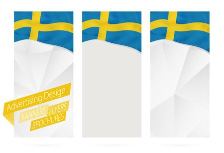 Design of banners, flyers, brochures with flag of Sweden. Leaflet Template for website or printing. Vector Illustration. Illustration