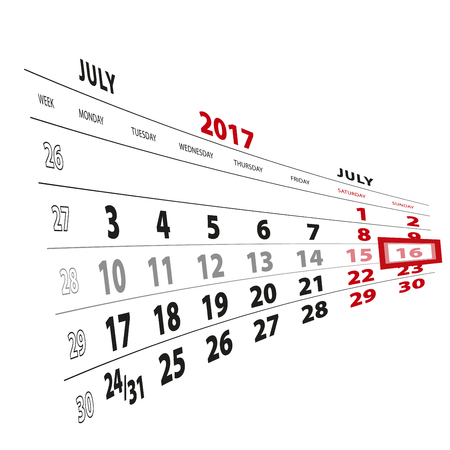 beginnings: 16 July highlighted on calendar 2017. Week starts from Monday. Vector Illustration. Illustration