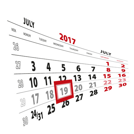 19 July highlighted on calendar 2017. Week starts from Monday. Vector Illustration.