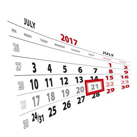 21 July highlighted on calendar 2017. Week starts from Monday. Vector Illustration. Illustration