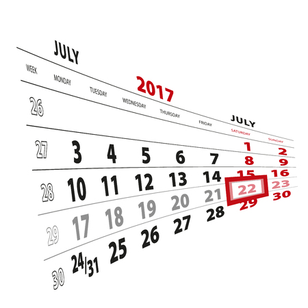 22 July highlighted on calendar 2017 week starts from Monday vector Illustration.