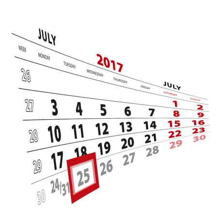 25 July highlighted on calendar 2017. Week starts from Monday. Vector Illustration. Illustration