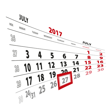 27 July highlighted on calendar 2017. Week starts from Monday. Vector Illustration.
