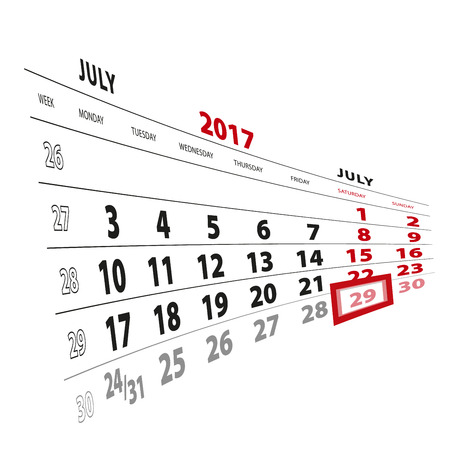 29 July highlighted on calendar 2017. Week starts from Monday. Vector Illustration.