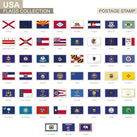 Postage stamp with USA State flags. Set of 51 US states flag. Vector Illustration. Векторная Иллюстрация