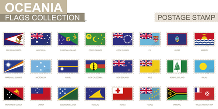 oceania: Postage stamp with Oceania flags. Set of 24 Oceanian flag. Vector Illustration. Illustration