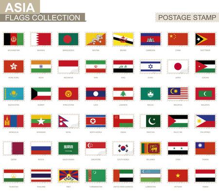 Postage stamp with Asia flags. Set of 48 Asian flag. Vector Illustration. Illusztráció
